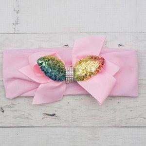 NWT! Pink Sequin Bunny Ear Rhinestone Headband